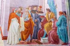 新生壁画在Brancacci教堂里在圣诞老人教会里  免版税图库摄影