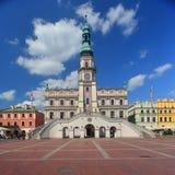 新生市政厅在Zamosc,东南波兰 免版税库存照片