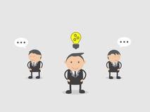 新生意人的想法 乱画传染媒介例证漫画人物摘要概念 免版税图库摄影