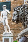 新生的雕塑在广场della Signoria的在Florenc 免版税库存照片