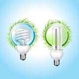 新电灯泡的绿灯 免版税库存照片
