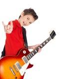 新男孩纵向有一把电吉他的 免版税库存图片