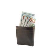 新的一百元钞票在钱包里 免版税库存图片