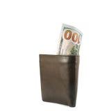 新的一百元钞票在钱包里 库存图片