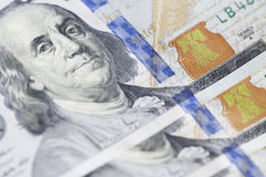 新的一百元钞票特写镜头 免版税库存照片