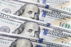 新的一百元钞票特写镜头 库存图片