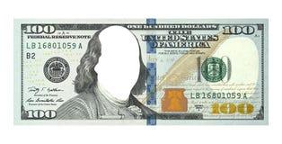 新的一百元钞票,没有面孔,裁减路线 库存照片
