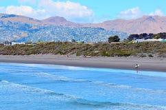 新的不列颠人海滩克赖斯特切奇-新西兰 免版税图库摄影