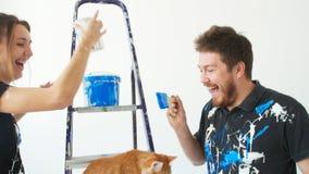 新的不动产的概念 年轻加上猫绘画和整修一间屋子在他们的新房里 影视素材