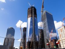 新的世界贸易中心的建筑在曼哈顿,新在9月以后 11日2001年 库存照片