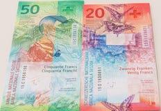 新的二十张和五十张瑞士法郎票据 免版税库存图片
