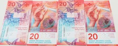 新的二十张瑞士法郎票据 免版税库存照片