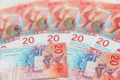 新的二十张瑞士法郎票据 库存图片