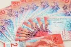 新的二十张瑞士法郎票据 库存照片