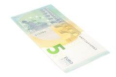 新的五欧元钞票后部 库存照片