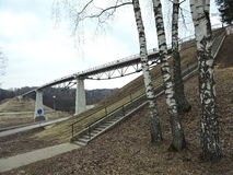 新的人行桥,立陶宛 免版税库存图片