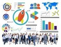 新的企业图创新配合全球企业概念 免版税库存图片