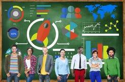 新的企业图创新配合全球企业概念 免版税库存照片