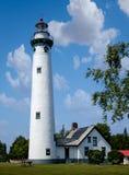 新的休伦湖的Presque小岛灯塔 库存照片