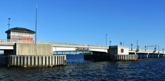 新的伯尔尼吊桥,北卡罗来纳,美国 免版税库存图片