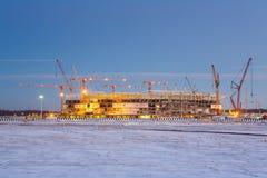 新的体育场的建筑在加里宁格勒 免版税库存照片
