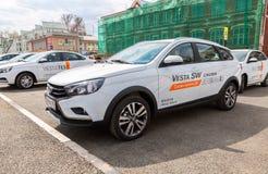 新的俄国车Lada Vesta SW十字架 库存图片