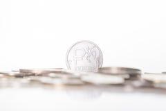 新的俄罗斯卢布硬币 免版税库存照片