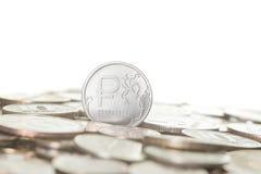 新的俄罗斯卢布硬币 免版税库存图片