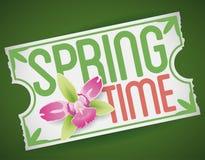 新的冒险的票在有兰花的今年春天,传染媒介例证 图库摄影