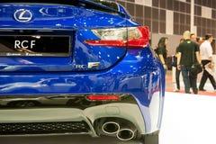 新的凌志RC-F在新加坡Motorshow 2015年 免版税库存照片