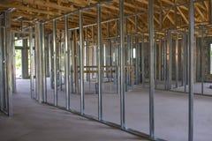 新的单户住宅建设中 免版税库存照片