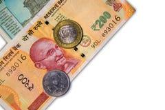 新的印地安人与10卢比的50和10卢比在白色背景铸造 库存图片
