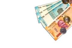 新的印地安人与10卢比的50和10卢比在白色背景铸造 免版税库存图片