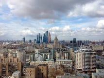 新的商业区莫斯科国际商业中心(莫斯科城市) 免版税库存照片