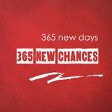 365新的天, 365个新的机会:在红色纸backgroun的引文 库存照片