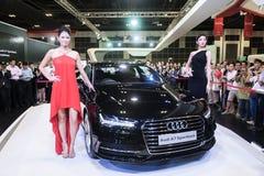 新的奥迪A7 Sportback发射在新加坡Motorshow 2015年 库存照片