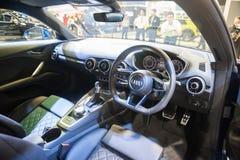 新的奥迪TT小轿车内部在新加坡Motorshow 2015年 库存图片