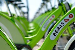 新的布达佩斯自行车聘用叫BUBI 免版税图库摄影