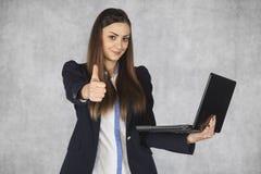 新的技术解答的赞许,女实业家 库存照片