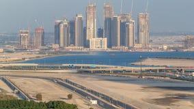 新的摩天大楼的建筑迪拜Creek港口空中timelapse的 迪拜-阿拉伯联合酋长国 股票视频