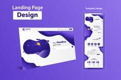 新的时髦着陆页网站传染媒介模板设计 免版税库存照片