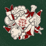 新的明信片年 塑造与弓,独角兽,手写的独特的字法,袜子的补丁徽章 免版税库存照片