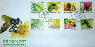 新的明确的邮票新加坡的第一天盖子 免版税库存照片