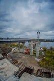 新的曲拱桥梁的建筑 库存图片