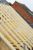 新的木材屋顶捆特写镜头 免版税库存图片