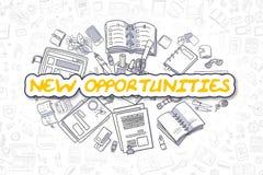 新的机会-动画片黄色词 到达天空的企业概念金黄回归键所有权 库存例证