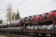 新的汽车需求导致出口 免版税库存照片