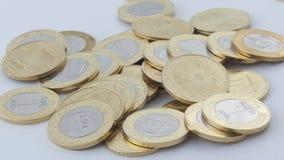 新的沙特里亚尔和显示萨勒曼国王的Halalas硬币 免版税图库摄影