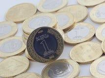 新的沙特里亚尔和显示萨勒曼国王的Halalas硬币 图库摄影