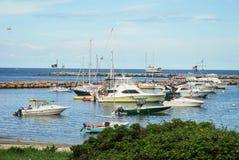 新的港口在石块海岛,罗德岛州 免版税图库摄影